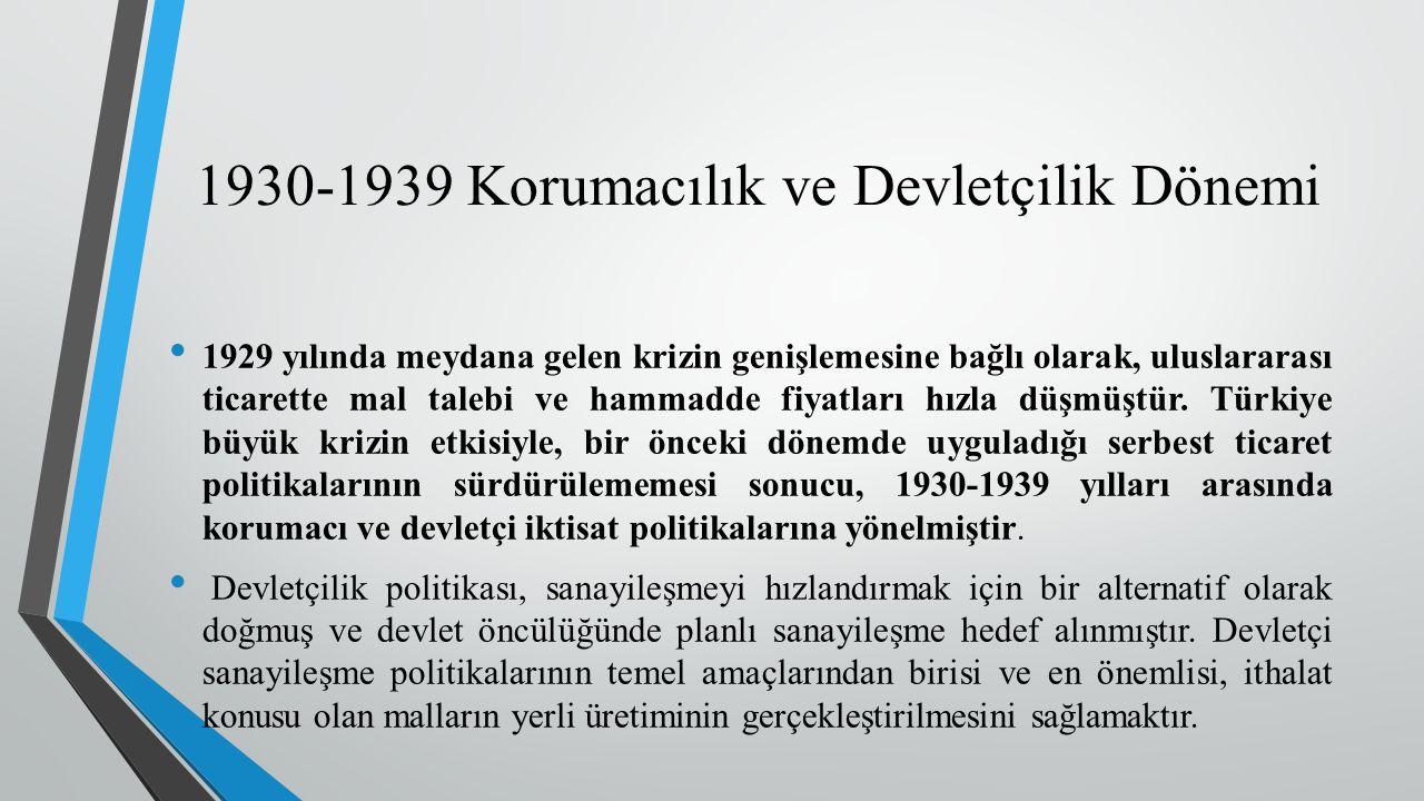 1930-1939 Korumacılık ve Devletçilik Dönemi 1929 yılında meydana gelen krizin genişlemesine bağlı olarak, uluslararası ticarette mal talebi ve hammadde fiyatları hızla düşmüştür.