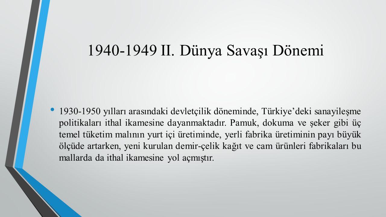 1930-1950 yılları arasındaki devletçilik döneminde, Türkiye'deki sanayileşme politikaları ithal ikamesine dayanmaktadır.
