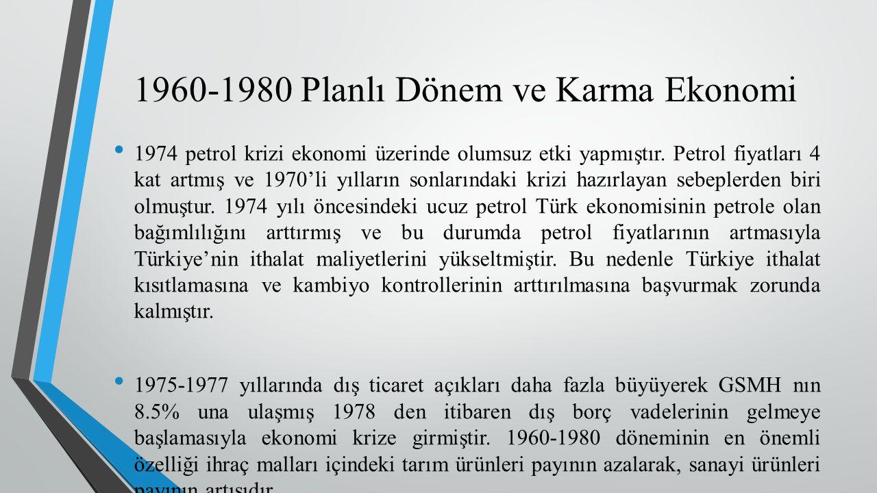 1974 petrol krizi ekonomi üzerinde olumsuz etki yapmıştır.