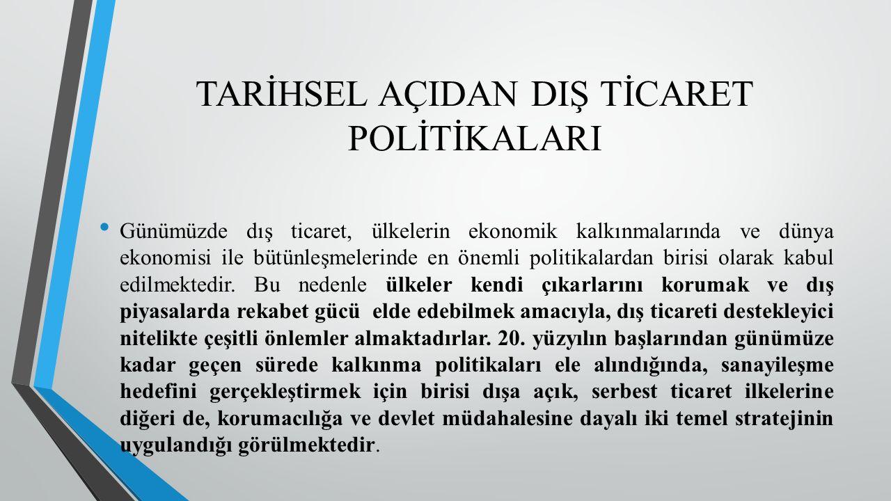 Türkiye'de Cumhuriyet döneminde dış ticaret politikaları bazen kendi kendine yeterli bir ekonomi yaratmanın, bazen de karşılaştırmalı üstünlükler bağlamında dışa açılmanın ve dışa açık kalkınma stratejisinin temel araçlarından birisi olarak kullanılmıştır.