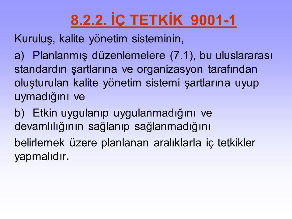 8.2.2. İÇ TETKİK 9001-1 Kuruluş, kalite yönetim sisteminin, a)Planlanmış düzenlemelere (7.1), bu uluslararası standardın şartlarına ve organizasyon ta