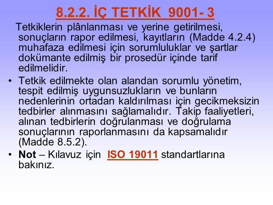 8.2.2. İÇ TETKİK 9001- 3 Tetkiklerin plânlanması ve yerine getirilmesi, sonuçların rapor edilmesi, kayıtların (Madde 4.2.4) muhafaza edilmesi için sor