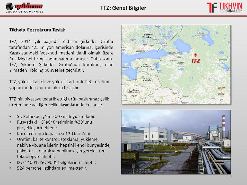 2 ТFZ: Genel Bilgiler Tikhvin Ferrokrom Tesisi: TFZ, 2014 yılı başında Yıldırım Şirketler Grubu tarafından 425 milyon amerikan dolarına, içerisinde Kazakistandaki Voskhod madeni dahil olmak üzere Rus Mechel firmasından satın alınmıştır.