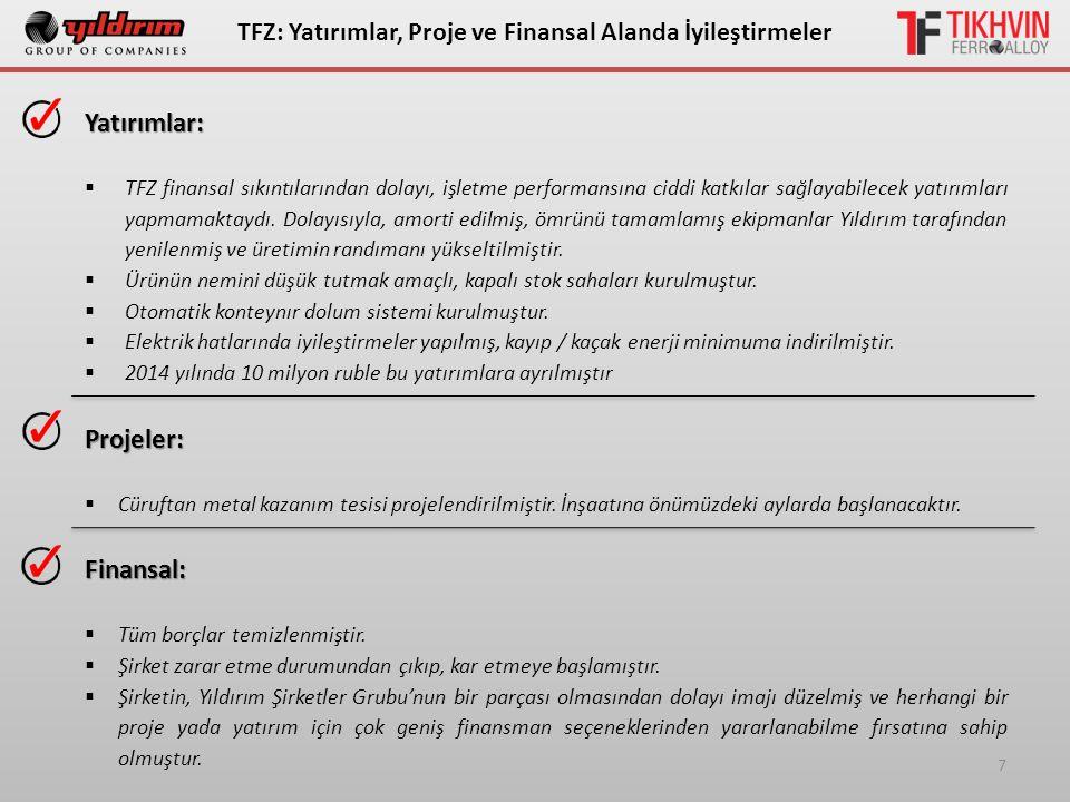 7 ТFZ: Yatırımlar, Proje ve Finansal Alanda İyileştirmelerYatırımlar:  TFZ finansal sıkıntılarından dolayı, işletme performansına ciddi katkılar sağl