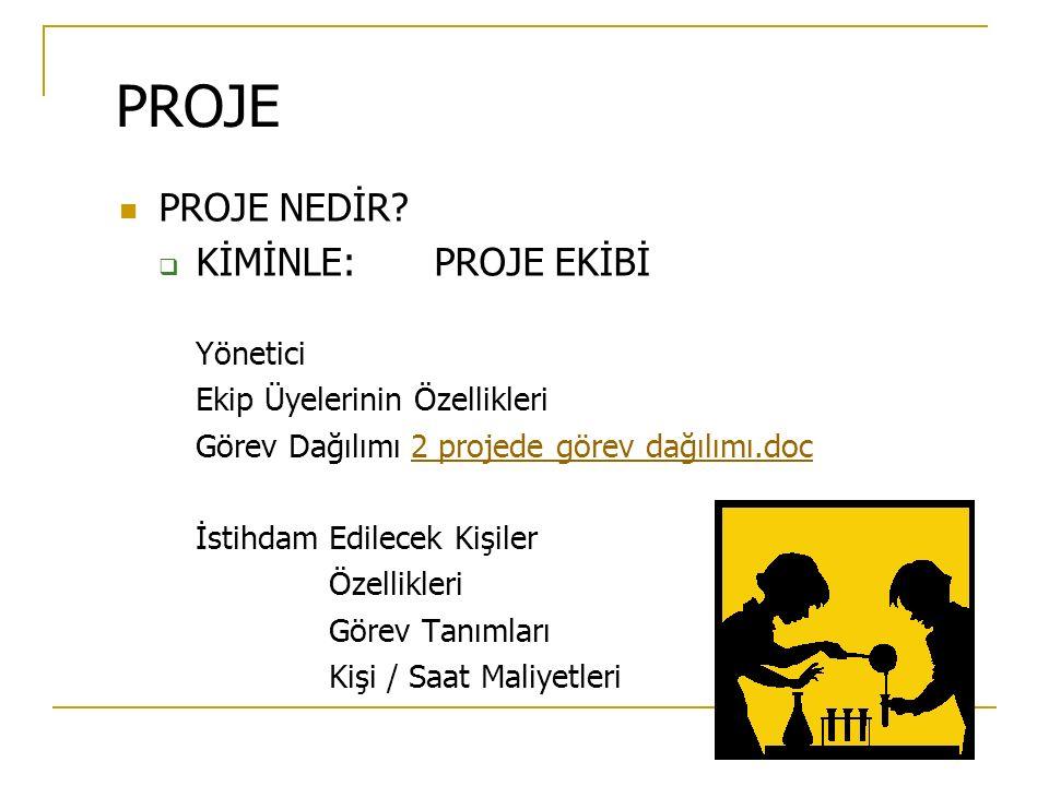 PROJE PROJE NEDİR?  KİMİNLE:PROJE EKİBİ Yönetici Ekip Üyelerinin Özellikleri Görev Dağılımı 2 projede görev dağılımı.doc2 projede görev dağılımı.doc