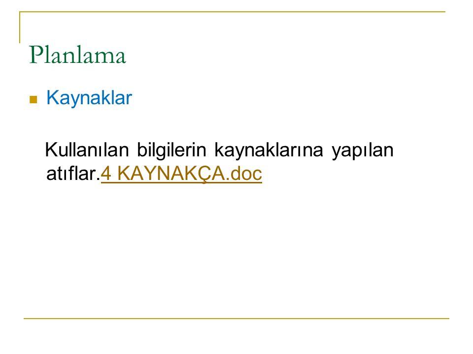 Planlama Kaynaklar Kullanılan bilgilerin kaynaklarına yapılan atıflar.4 KAYNAKÇA.doc4 KAYNAKÇA.doc