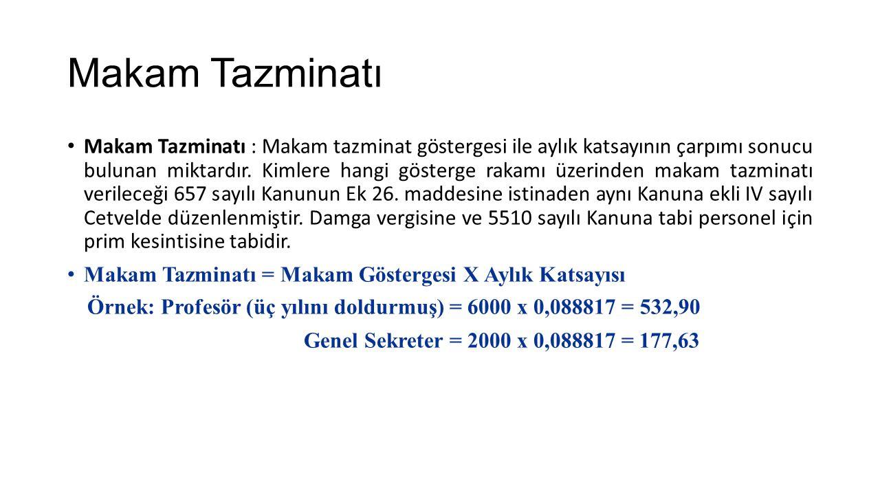 Makam Tazminatı Makam Tazminatı : Makam tazminat göstergesi ile aylık katsayının çarpımı sonucu bulunan miktardır.
