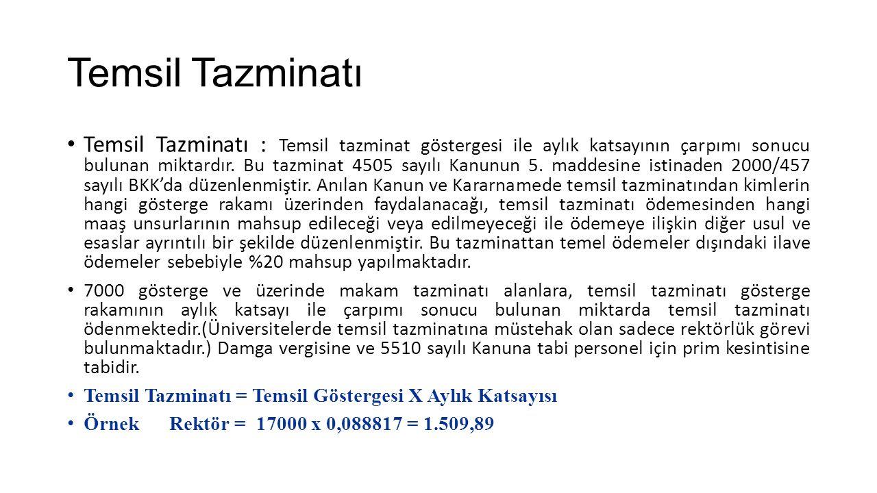 Temsil Tazminatı Temsil Tazminatı : Temsil tazminat göstergesi ile aylık katsayının çarpımı sonucu bulunan miktardır. Bu tazminat 4505 sayılı Kanunun