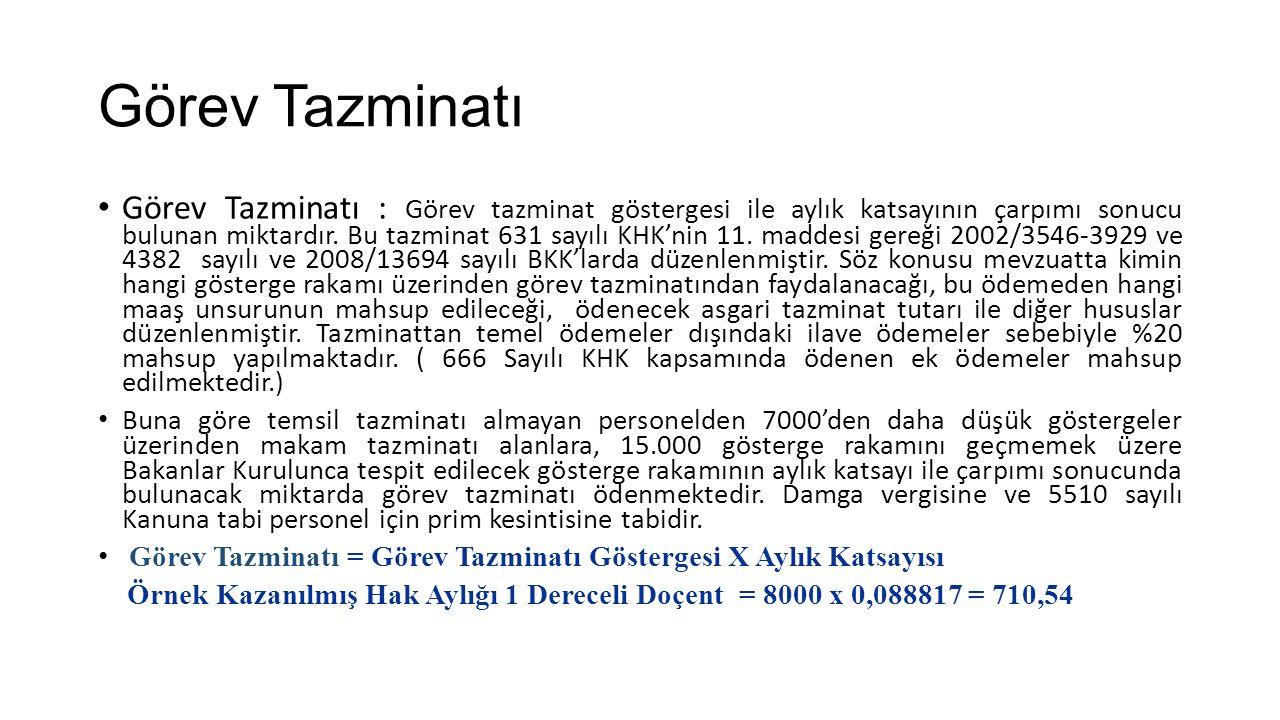 Görev Tazminatı Görev Tazminatı : Görev tazminat göstergesi ile aylık katsayının çarpımı sonucu bulunan miktardır. Bu tazminat 631 sayılı KHK'nin 11.