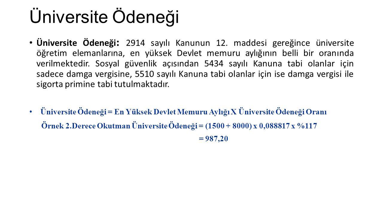 Üniversite Ödeneği Üniversite Ödeneği : 2914 sayılı Kanunun 12.