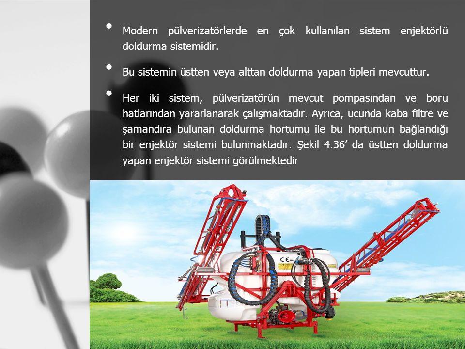 Modern pülverizatörlerde en çok kullanılan sistem enjektörlü doldurma sistemidir. Bu sistemin üstten veya alttan doldurma yapan tipleri mevcuttur. Her