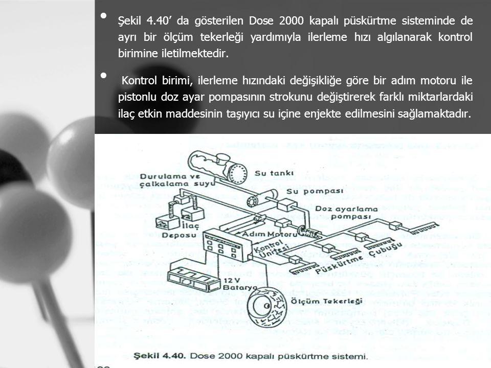 Şekil 4.40' da gösterilen Dose 2000 kapalı püskürtme sisteminde de ayrı bir ölçüm tekerleği yardımıyla ilerleme hızı algılanarak kontrol birimine ilet