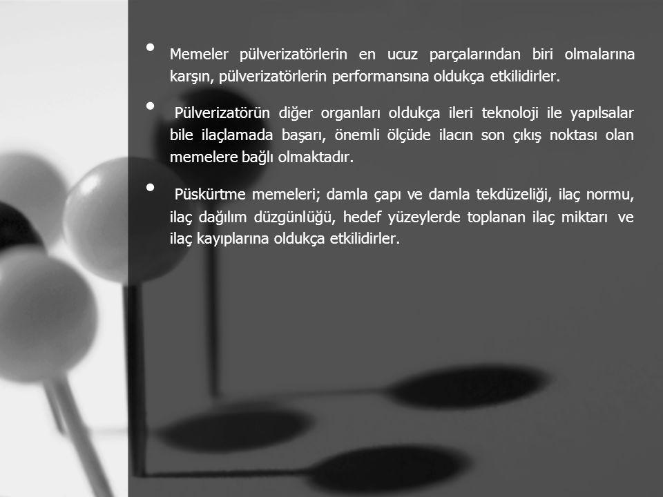 Memeler pülverizatörlerin en ucuz parçalarından biri olmalarına karşın, pülverizatörlerin performansına oldukça etkilidirler. Pülverizatörün diğer org