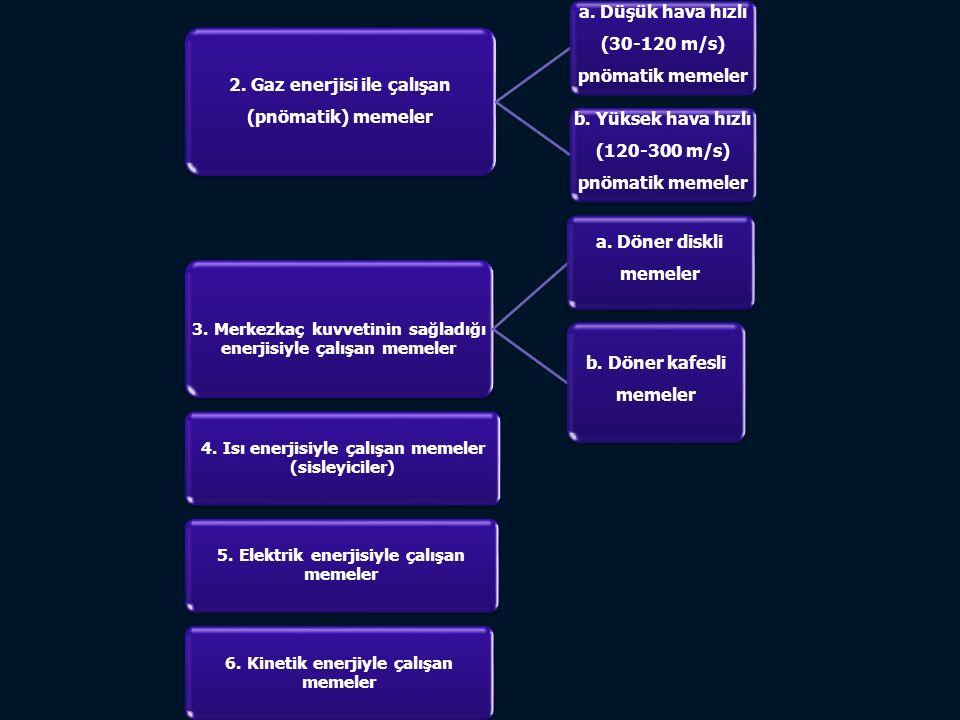 2. Gaz enerjisi ile çalışan (pnömatik) memeler a. Düşük hava hızlı (30-120 m/s) pnömatik memeler b. Yüksek hava hızlı (120-300 m/s) pnömatik memeler 3