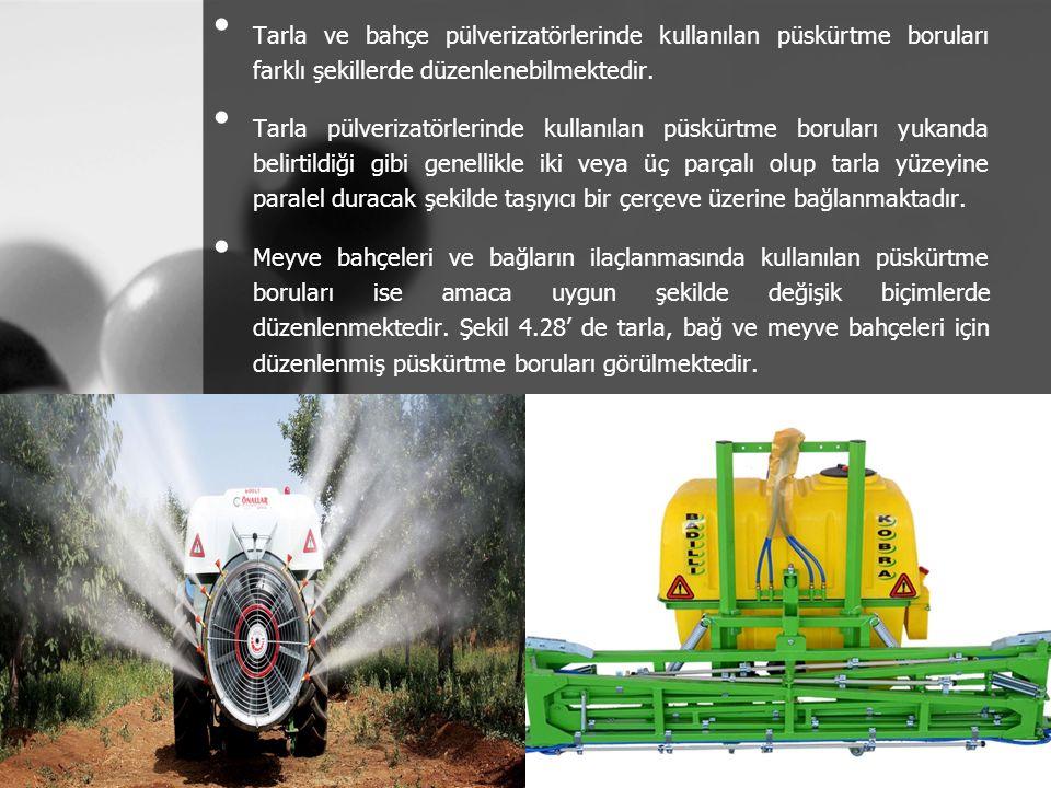Tarla ve bahçe pülverizatörlerinde kullanılan püskürtme boruları farklı şekillerde düzenlenebilmektedir. Tarla pülverizatörlerinde kullanılan püskürtm