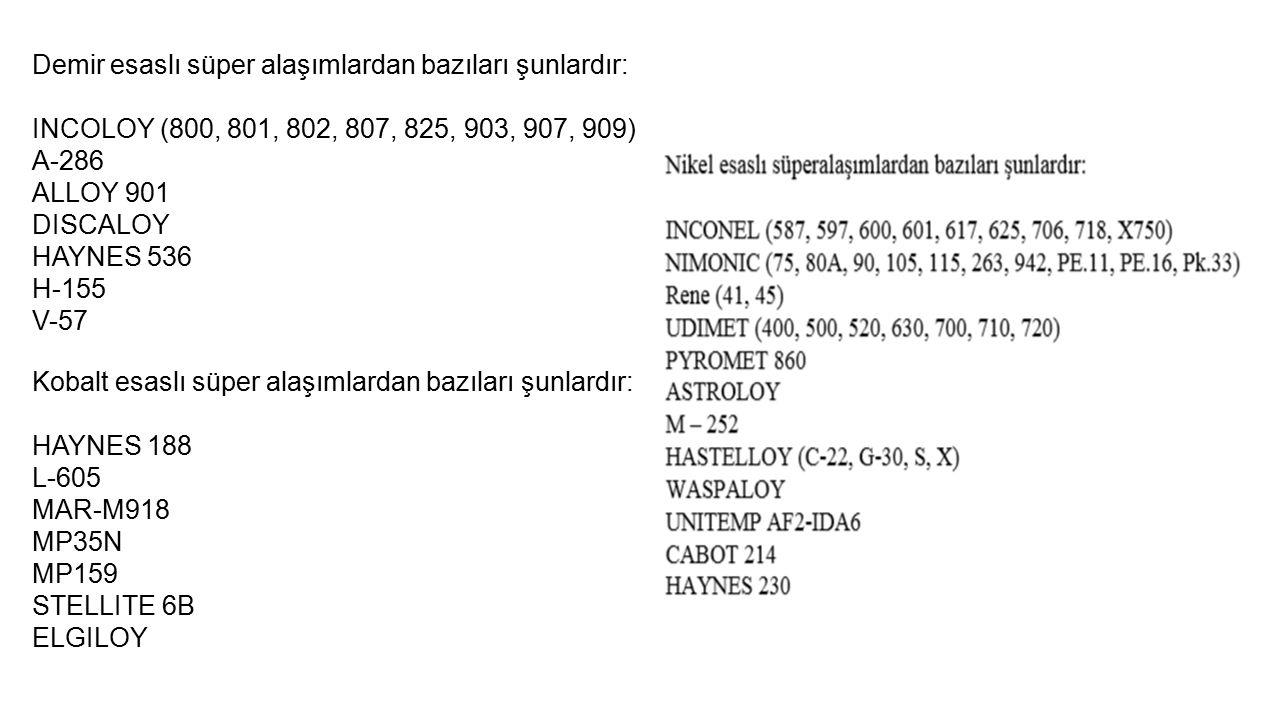 Demir esaslı süper alaşımlardan bazıları şunlardır: INCOLOY (800, 801, 802, 807, 825, 903, 907, 909) A-286 ALLOY 901 DISCALOY HAYNES 536 H-155 V-57 Ko