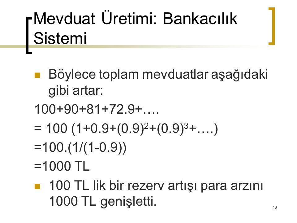 18 Mevduat Üretimi: Bankacılık Sistemi Böylece toplam mevduatlar aşağıdaki gibi artar: 100+90+81+72.9+…. = 100 (1+0.9+(0.9) 2 +(0.9) 3 +….) =100.(1/(1