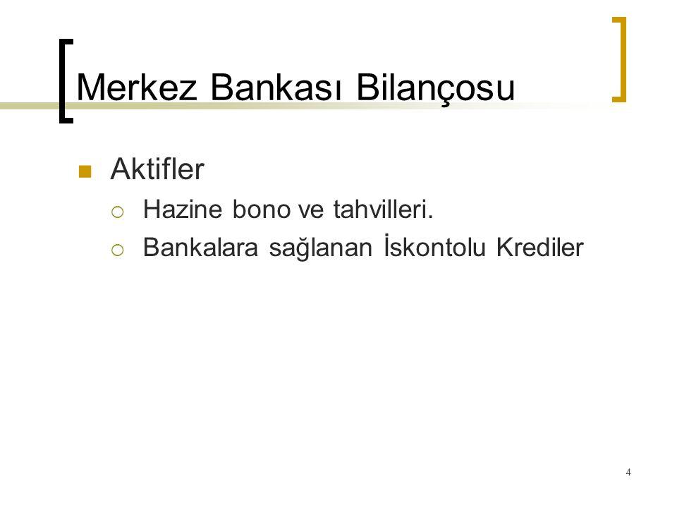 4 Merkez Bankası Bilançosu Aktifler  Hazine bono ve tahvilleri.  Bankalara sağlanan İskontolu Krediler