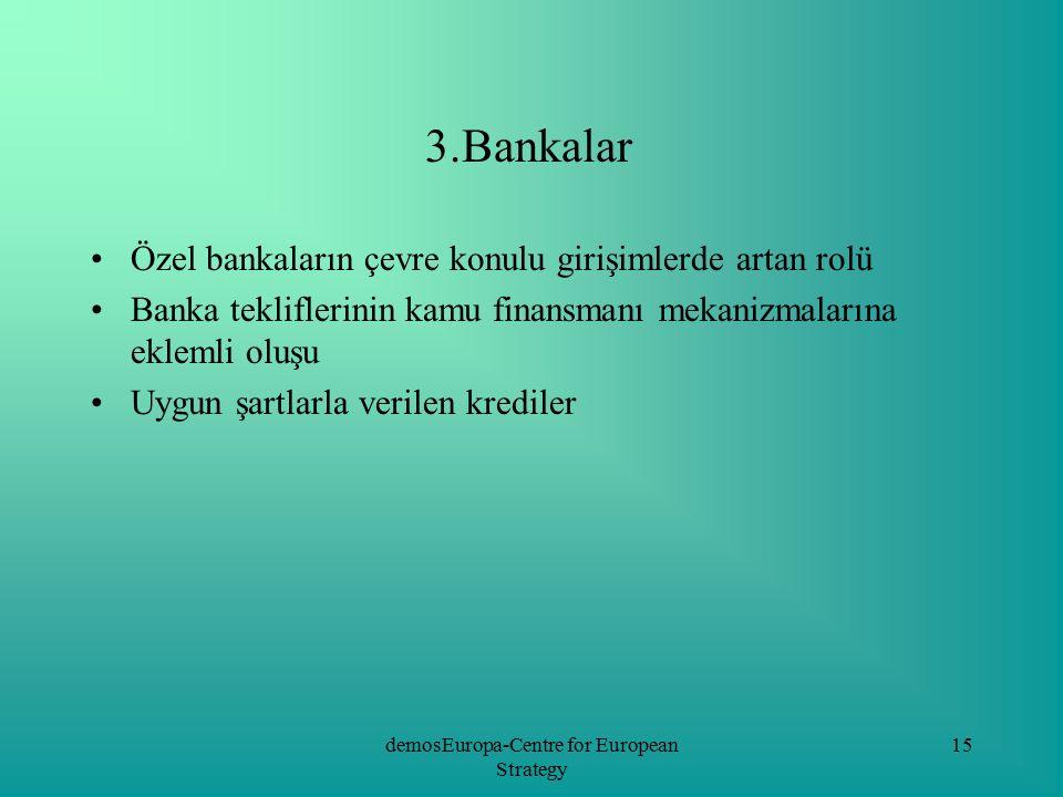 demosEuropa-Centre for European Strategy 15 3.Bankalar Özel bankaların çevre konulu girişimlerde artan rolü Banka tekliflerinin kamu finansmanı mekani