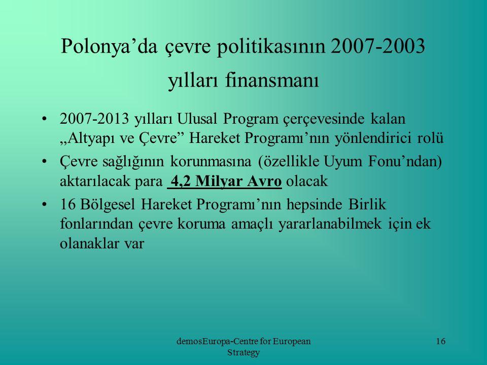 demosEuropa-Centre for European Strategy 16 Polonya'da çevre politikasının 2007-2003 yılları finansmanı 2007-2013 yılları Ulusal Program çerçevesinde