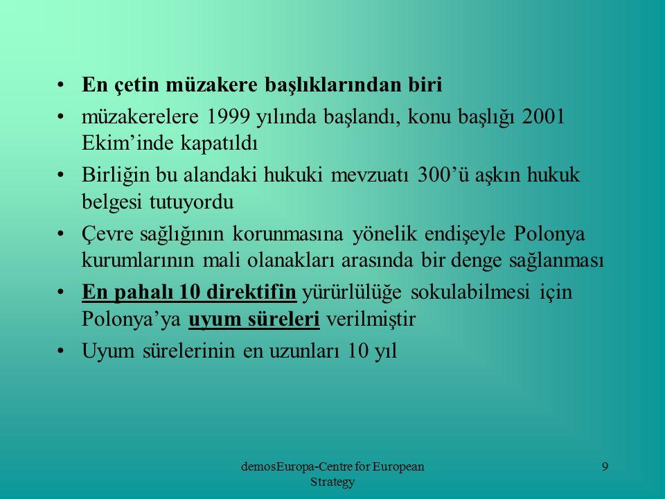 """demosEuropa-Centre for European Strategy 20 Bu koalisyonun çatısı altında 4 kurum toplanmış: Çevre Ekonomisi Enstitüsü Eko-Kalkınma Enstitüsü Polonya Çevre Koruma Vakfı """"Polonya Yeşil Ağ Dernekleri Birliği Öncelikli faaliyet amaçları: Birlik fonlarından yapılan harcamalarında, eşit kalkınma ilkesinin uygulanıp uygulanmadığının takibini Polonya 2007-2013 gelişim planı çalışmalarına Polonya çevre örgütlerinin katılımı Çevre örgütlerinin karar süreçlerine katılımlarındaki başarılı uygulamaların tanıtımını yapmak AB fonlarının kullanımında çevre örgütlerinin payını arttırmak"""