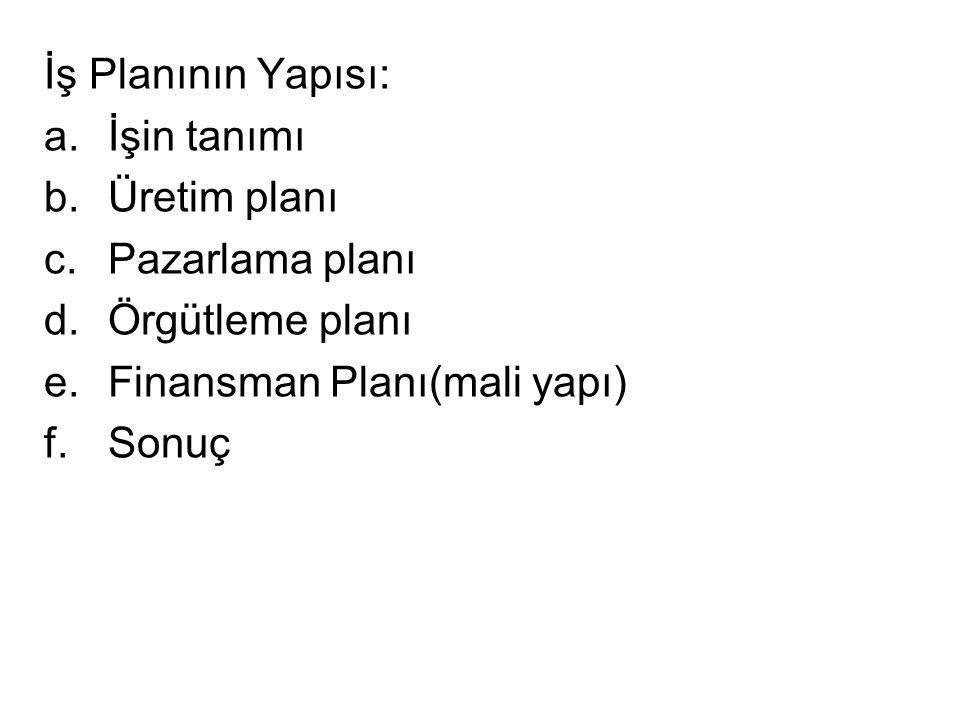 İş Planının Yapısı: a.İşin tanımı b.Üretim planı c.Pazarlama planı d.Örgütleme planı e.Finansman Planı(mali yapı) f.Sonuç