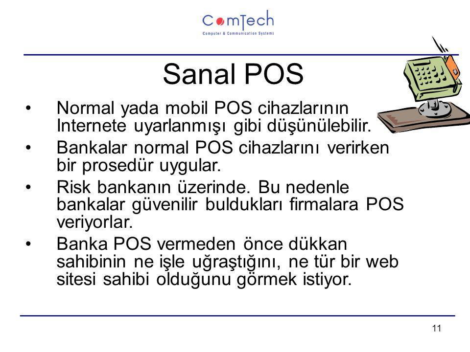 11 Sanal POS Normal yada mobil POS cihazlarının Internete uyarlanmışı gibi düşünülebilir.