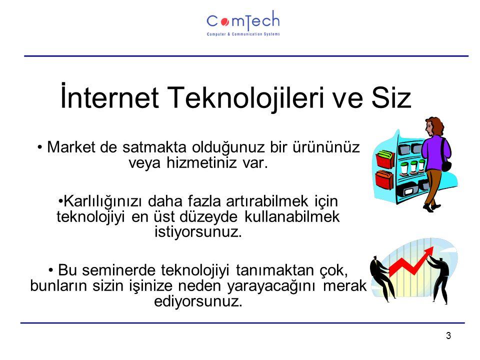 3 İnternet Teknolojileri ve Siz Market de satmakta olduğunuz bir ürününüz veya hizmetiniz var.