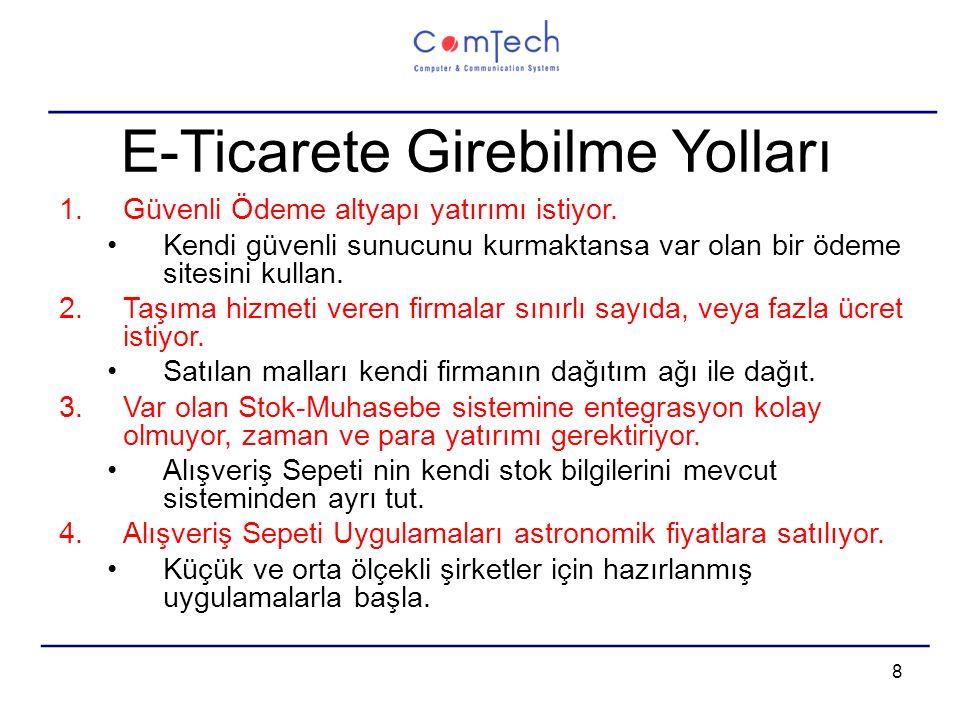 9 E-Ticaret Çözümleri Comtech kendi e-ticaret sitesini 2004 ten beri müşterilerine sunuyor.