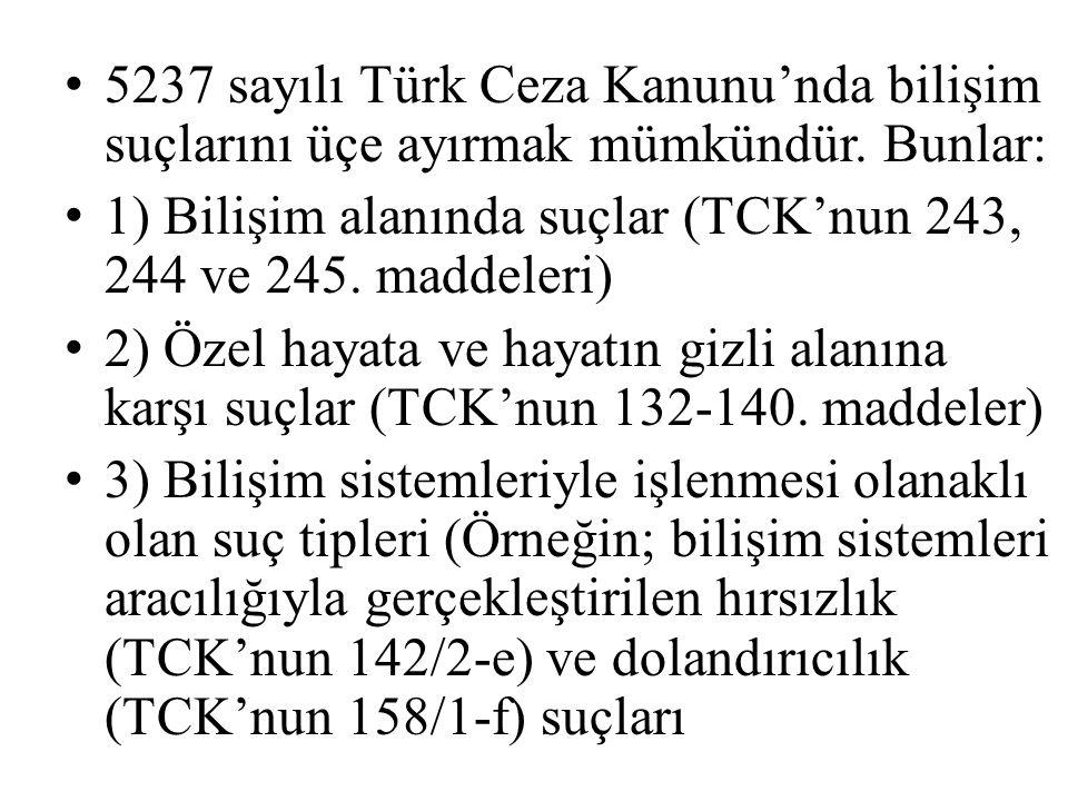 C) BİLİŞİM SİSTEMİ ARACILIĞIYLA HUKUKA AYKIRI YARAR SAĞLAMA SUÇU (TCK'NUN 244/4.