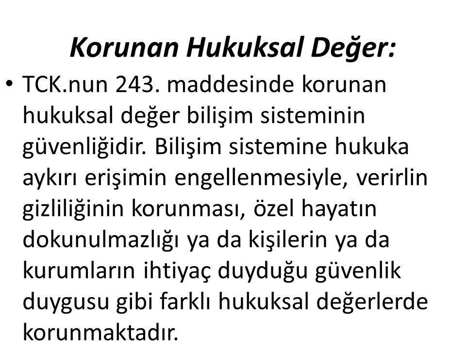 Korunan Hukuksal Değer: TCK.nun 243.
