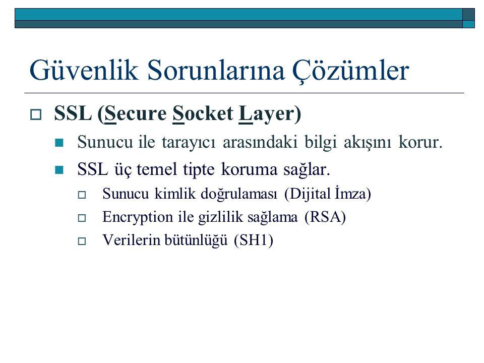 Güvenlik Sorunlarına Çözümler  SSL (Secure Socket Layer) Sunucu ile tarayıcı arasındaki bilgi akışını korur. SSL üç temel tipte koruma sağlar.  Sunu