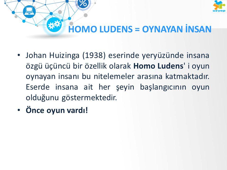 HOMO LUDENS = OYNAYAN İNSAN Johan Huizinga (1938) eserinde yeryüzünde insana özgü üçüncü bir özellik olarak Homo Ludens i oyun oynayan insanı bu nitelemeler arasına katmaktadır.