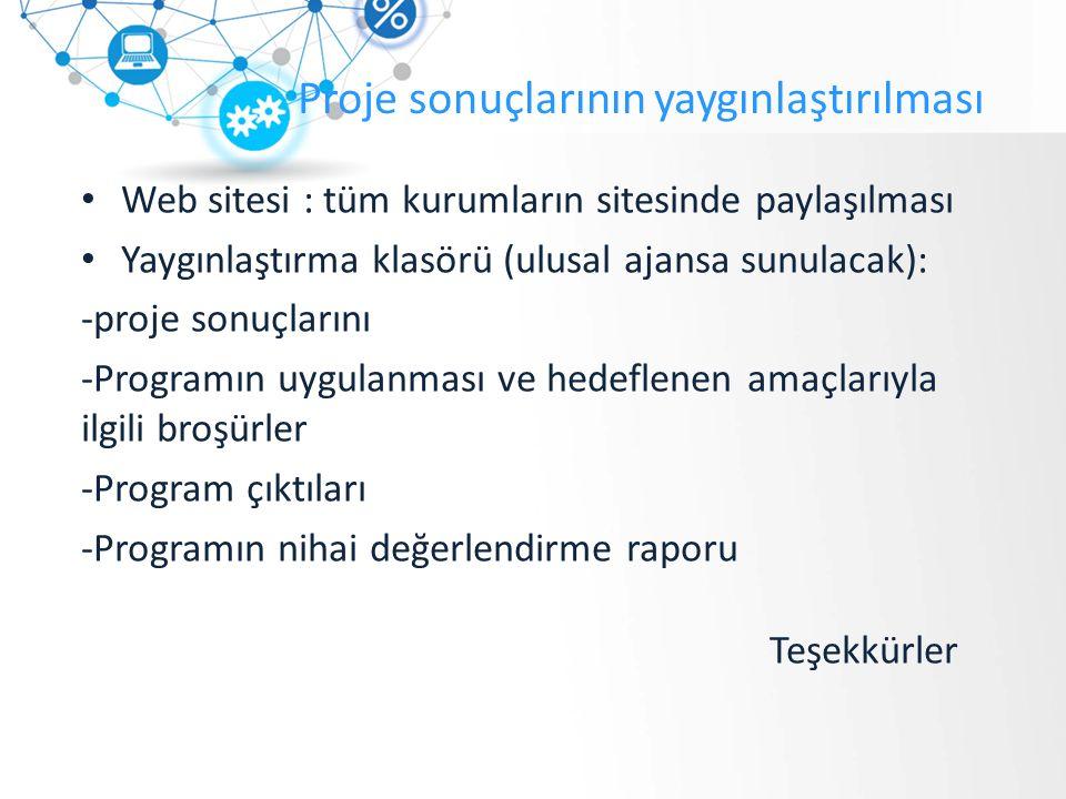 Proje sonuçlarının yaygınlaştırılması Web sitesi : tüm kurumların sitesinde paylaşılması Yaygınlaştırma klasörü (ulusal ajansa sunulacak): -proje sonuçlarını -Programın uygulanması ve hedeflenen amaçlarıyla ilgili broşürler -Program çıktıları -Programın nihai değerlendirme raporu Teşekkürler