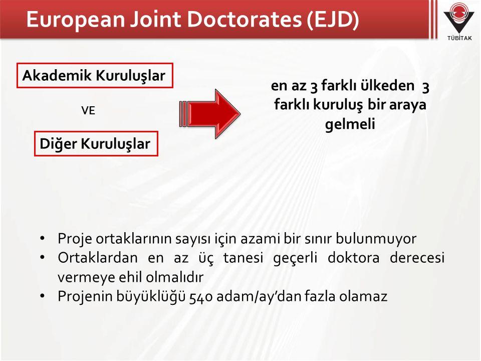 TÜBİTAK European Joint Doctorates (EJD) Akademik Kuruluşlar Diğer Kuruluşlar Proje ortaklarının sayısı için azami bir sınır bulunmuyor Ortaklardan en az üç tanesi geçerli doktora derecesi vermeye ehil olmalıdır Projenin büyüklüğü 540 adam/ay'dan fazla olamaz VE en az 3 farklı ülkeden 3 farklı kuruluş bir araya gelmeli