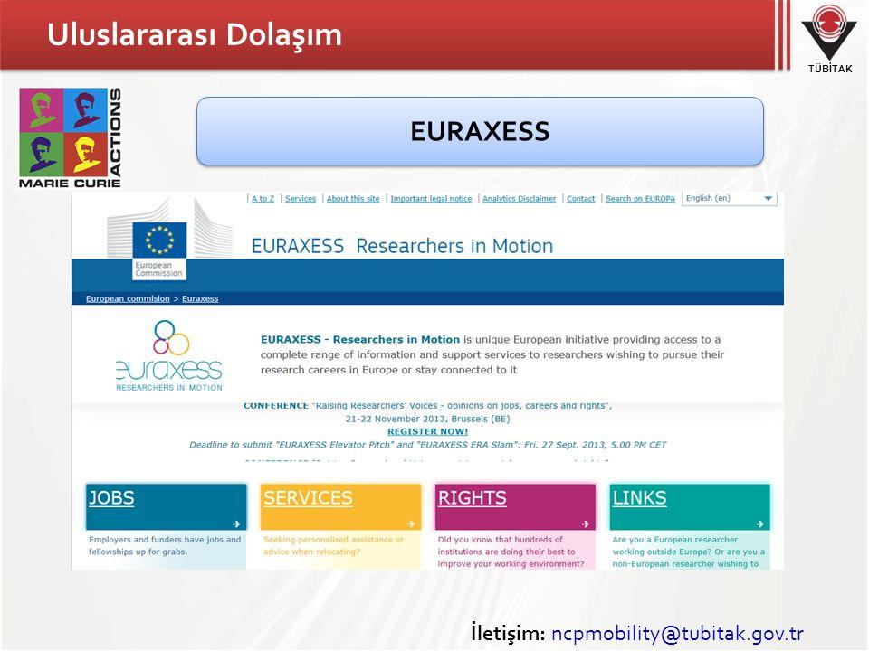 TÜBİTAK Uluslararası Dolaşım İletişim: ncpmobility@tubitak.gov.tr EURAXESS