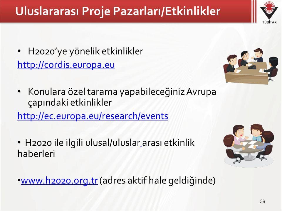 TÜBİTAK Uluslararası Proje Pazarları/Etkinlikler H2020'ye yönelik etkinlikler http://cordis.europa.eu Konulara özel tarama yapabileceğiniz Avrupa çapındaki etkinlikler http://ec.europa.eu/research/events H2020 ile ilgili ulusal/uluslar arası etkinlik haberleri www.h2020.org.tr (adres aktif hale geldiğinde) www.h2020.org.tr 39