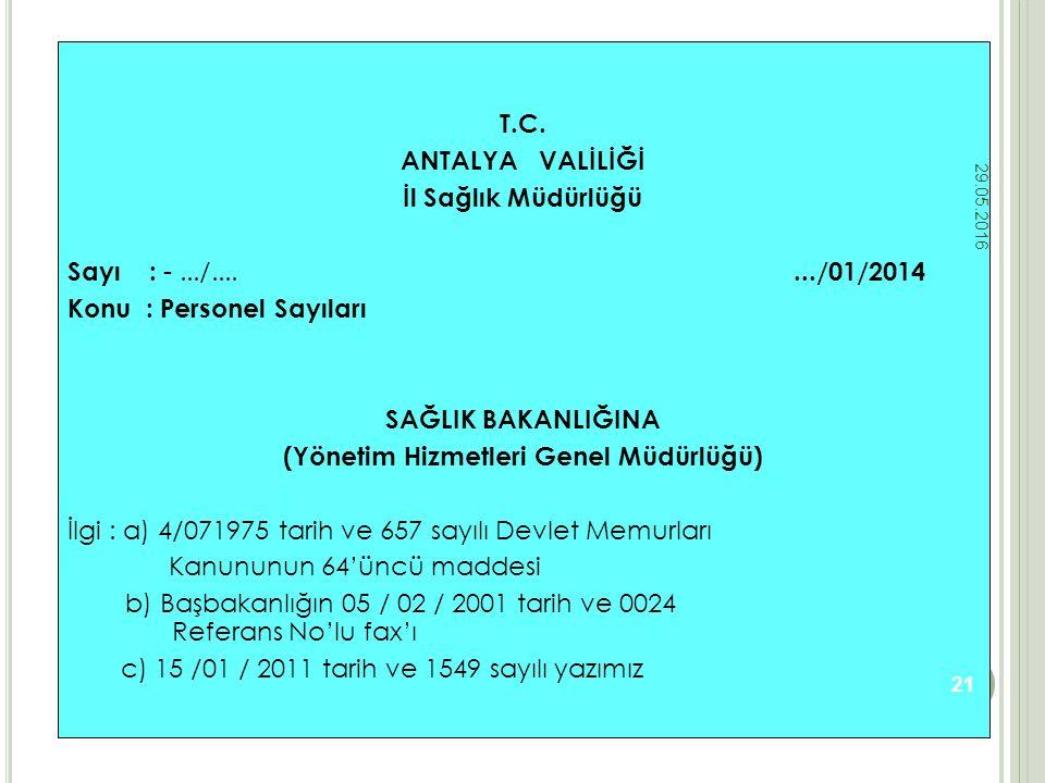 T.C. ANTALYA VALİLİĞİ İl Sağlık Müdürlüğü Sayı : -.../......./01/2014 Konu : Personel Sayıları SAĞLIK BAKANLIĞINA (Yönetim Hizmetleri Genel Müdürlüğü)