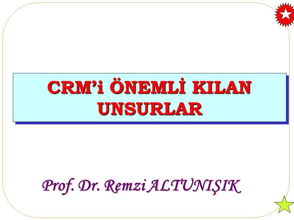 CRM'i ÖNEMLİ KILAN UNSURLAR Prof. Dr. Remzi ALTUNIŞIK