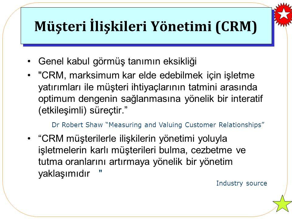Müşteri İlişkileri Yönetimi (CRM) Genel kabul görmüş tanımın eksikliği CRM, marksimum kar elde edebilmek için işletme yatırımları ile müşteri ihtiyaçlarının tatmini arasında optimum dengenin sağlanmasına yönelik bir interatif (etkileşimli) süreçtir. CRM müşterilerle ilişkilerin yönetimi yoluyla işletmelerin karlı müşterileri bulma, cezbetme ve tutma oranlarını artırmaya yönelik bir yönetim yaklaşımıdır Dr Robert Shaw Measuring and Valuing Customer Relationships Industry source