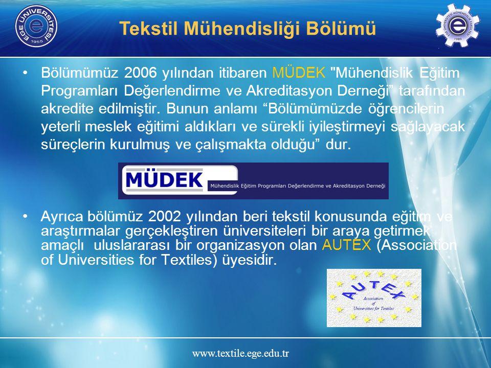 www.textile.ege.edu.tr Tekstil Mühendisliği Bölümü Bölümümüz 2006 yılından itibaren MÜDEK