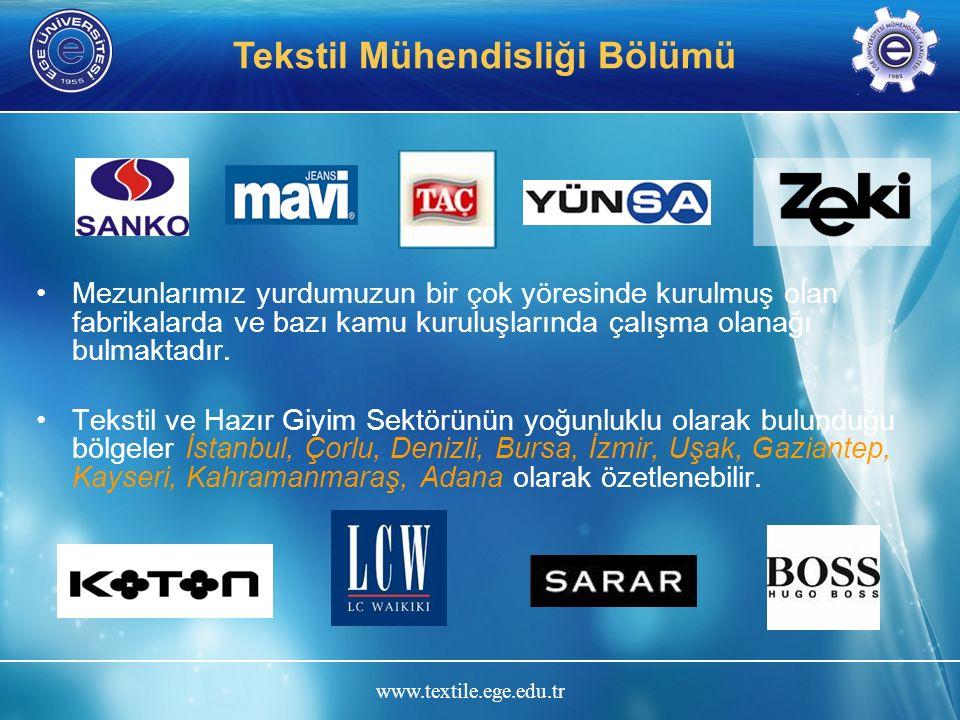 www.textile.ege.edu.tr Tekstil Mühendisliği Bölümü Mezunlarımız yurdumuzun bir çok yöresinde kurulmuş olan fabrikalarda ve bazı kamu kuruluşlarında ça