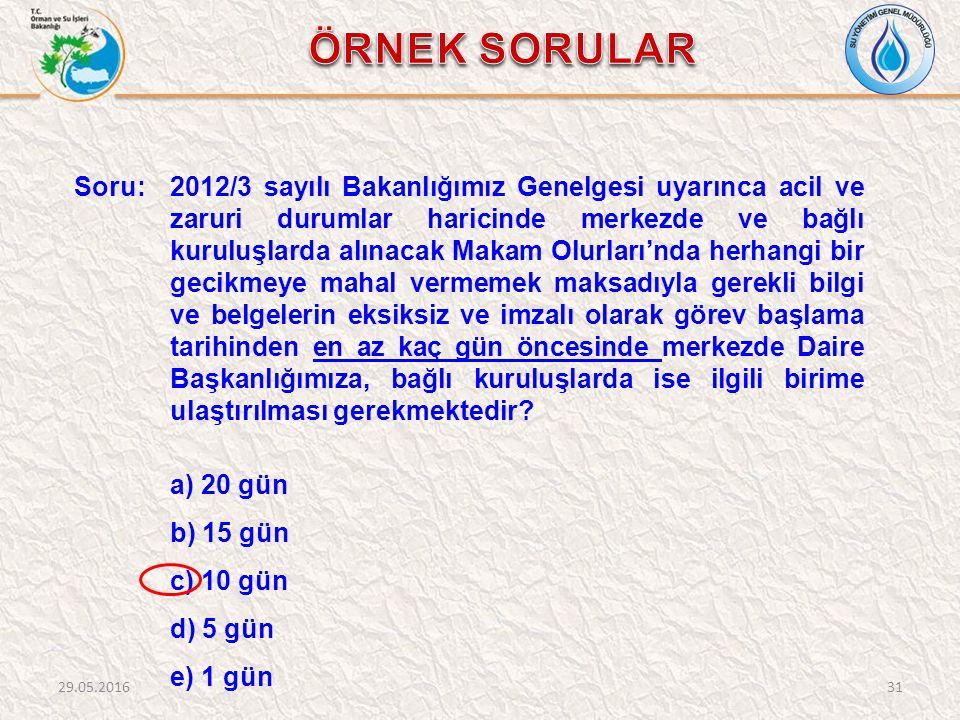 Soru: 2012/3 sayılı Bakanlığımız Genelgesi uyarınca acil ve zaruri durumlar haricinde merkezde ve bağlı kuruluşlarda alınacak Makam Olurları'nda herha