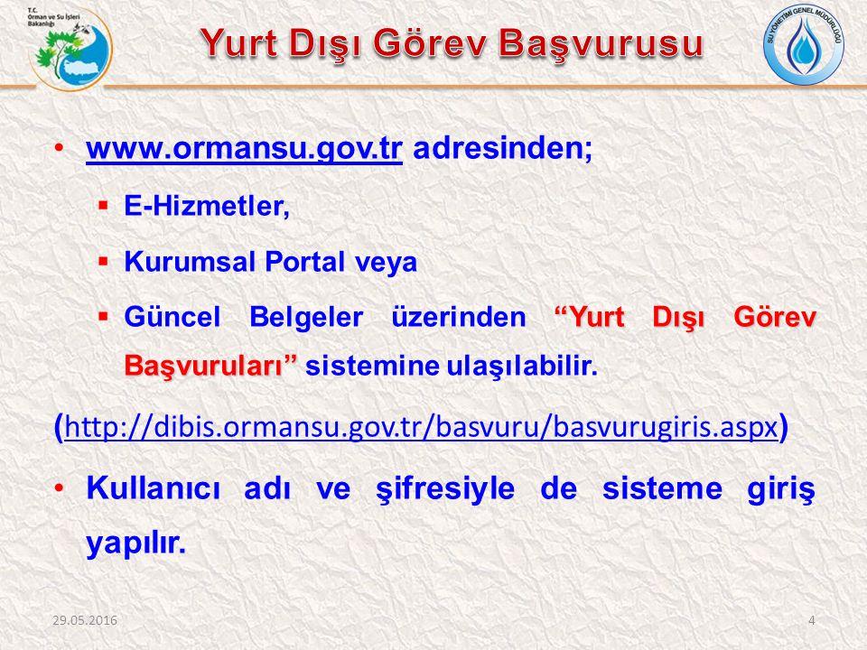 """www.ormansu.gov.tr adresinden;www.ormansu.gov.tr  E-Hizmetler,  Kurumsal Portal veya """"Yurt Dışı Görev Başvuruları""""  Güncel Belgeler üzerinden """"Yurt"""