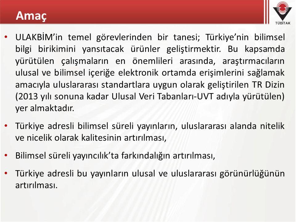 TÜBİTAK Amaç ULAKBİM'in temel görevlerinden bir tanesi; Türkiye'nin bilimsel bilgi birikimini yansıtacak ürünler geliştirmektir. Bu kapsamda yürütülen