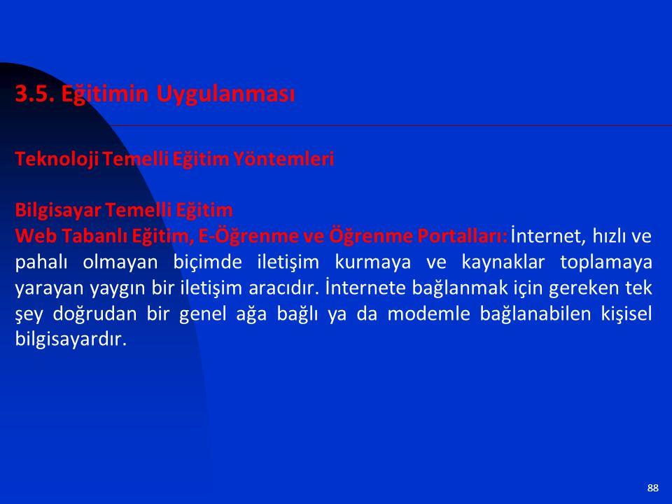 88 Teknoloji Temelli Eğitim Yöntemleri Bilgisayar Temelli Eğitim Web Tabanlı Eğitim, E-Öğrenme ve Öğrenme Portalları: İnternet, hızlı ve pahalı olmaya