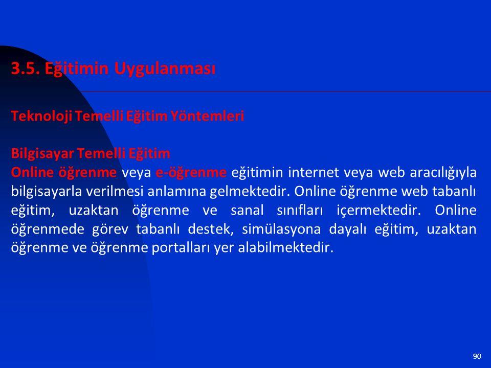 90 Teknoloji Temelli Eğitim Yöntemleri Bilgisayar Temelli Eğitim Online öğrenme veya e-öğrenme eğitimin internet veya web aracılığıyla bilgisayarla ve
