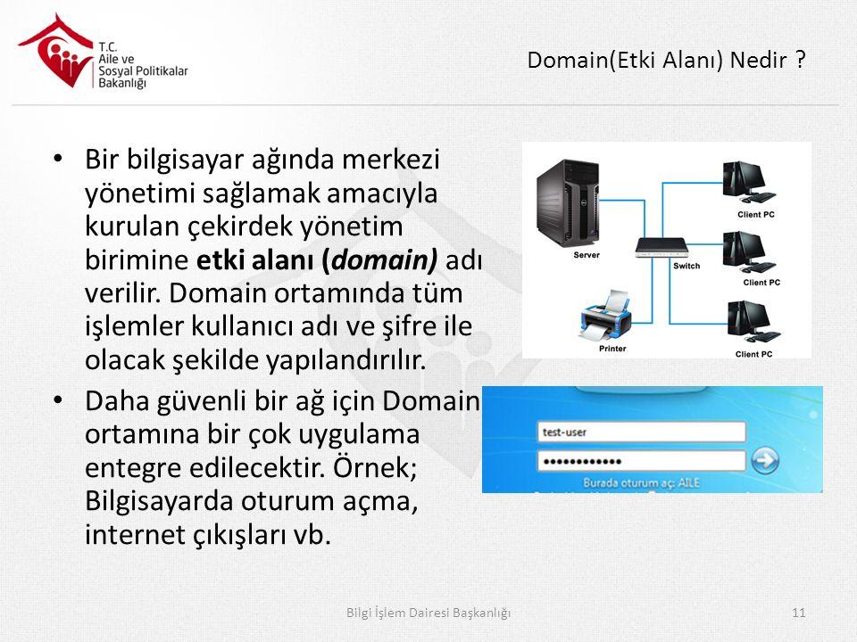 Domain(Etki Alanı) Nedir ? Bir bilgisayar ağında merkezi yönetimi sağlamak amacıyla kurulan çekirdek yönetim birimine etki alanı (domain) adı verilir.