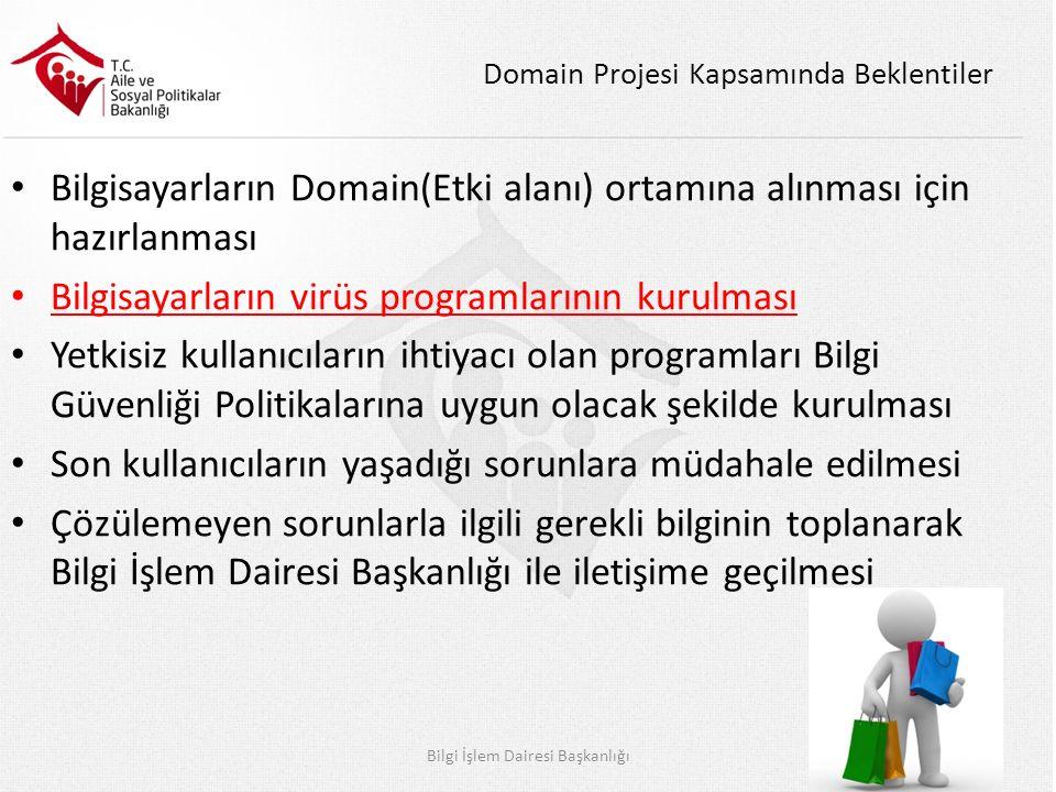 Domain Projesi Kapsamında Beklentiler Bilgisayarların Domain(Etki alanı) ortamına alınması için hazırlanması Bilgisayarların virüs programlarının kurulması Yetkisiz kullanıcıların ihtiyacı olan programları Bilgi Güvenliği Politikalarına uygun olacak şekilde kurulması Son kullanıcıların yaşadığı sorunlara müdahale edilmesi Çözülemeyen sorunlarla ilgili gerekli bilginin toplanarak Bilgi İşlem Dairesi Başkanlığı ile iletişime geçilmesi Bilgi İşlem Dairesi Başkanlığı12