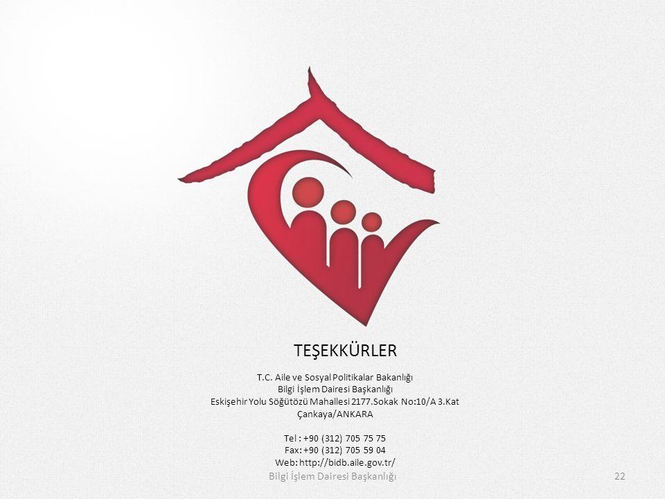 Bilgi İşlem Dairesi Başkanlığı22 T.C. Aile ve Sosyal Politikalar Bakanlığı Bilgi İşlem Dairesi Başkanlığı Eskişehir Yolu Söğütözü Mahallesi 2177.Sokak